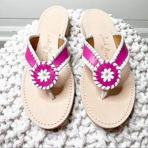 Jack Rogers Ro Leather Sandals Magenta White 9M